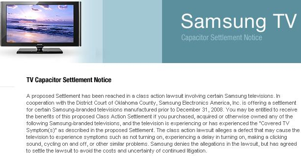 Samsung capacitor settlement